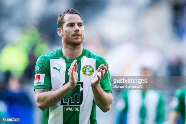 Johan Persson of Hammarby IF thanks the fans for their support during an Allsvenskan match between Hammarby IF and GIF Sundsvall at Tele2 Arena on...