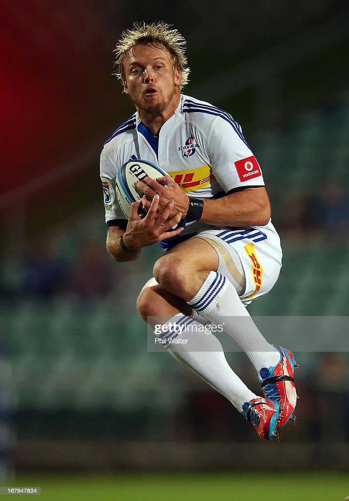 Johan Pietersen of the Stormers collects the high ball during the round 12 Super Rugby match between the Blues and the Stormers at North Harbour Stadium on May 3, 2013 in Auckland, New Zealand.