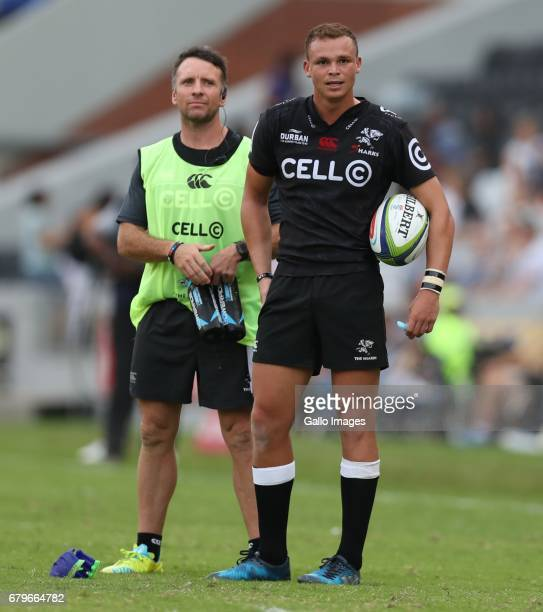 Johan Pretorius Head Strength Conditioning Coach of the Cell C Sharks with Curwin Bosch of the Cell C Sharks during the Super Rugby match between...