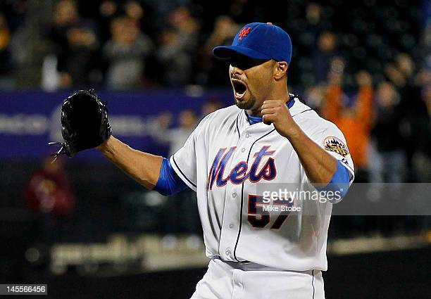 Johan Santana of the New York Mets celebrates after pitching a no hitter against the St Louis Cardinals at Citi Field on June 1 2012 in the Flushing...