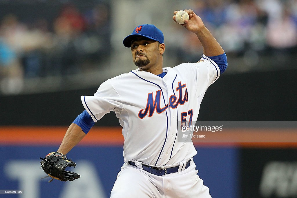<a gi-track='captionPersonalityLinkClicked' href=/galleries/search?phrase=Johan+Santana&family=editorial&specificpeople=213115 ng-click='$event.stopPropagation()'>Johan Santana</a> #57 of the New York Mets delivers a pitch against the Arizona Diamondbacks at Citi Field on May 5, 2012 in the Flushing neighborhood of the Queens borough of New York City.
