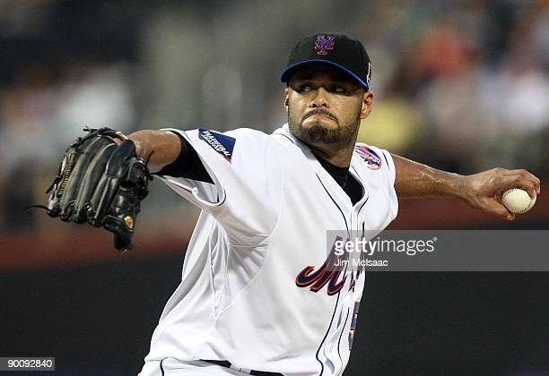 Johan Santana of the New York Mets delivers a pitch against the Atlanta Braves on August 20 2009 at Citi Field in the Flushing neighborhood of the...