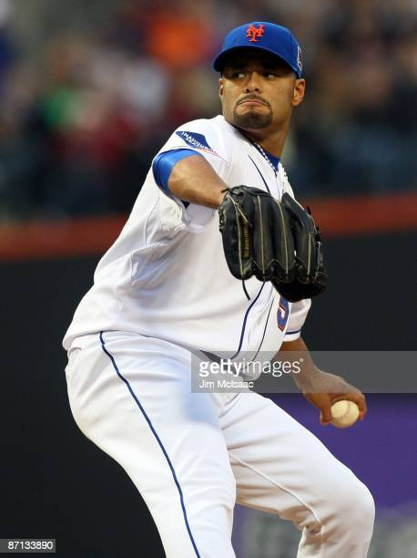 Johan Santana of the New York Mets pitches against the Atlanta Braves on May 11 2009 at Citi Field in the Flushing neighborhood of the Queens borough...