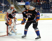 Johan Sundstrom of the Bridgeport Sound Tigers skates during an American Hockey League game against the Norfolk Admirals on December 2 2012 at the...