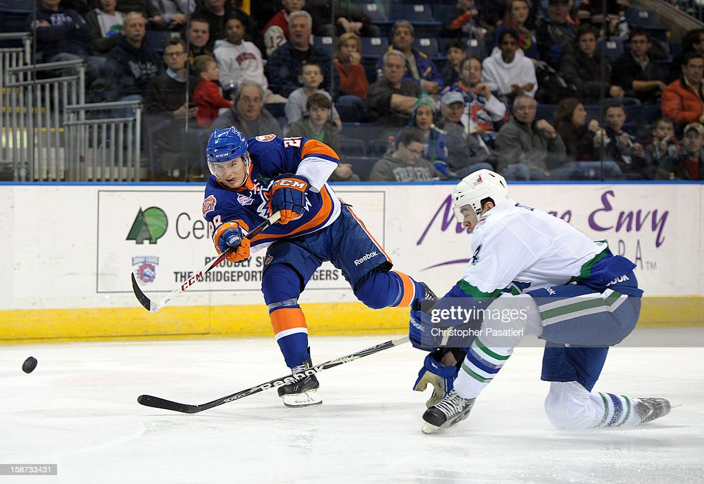 Johan Sundstrom #28 of the Bridgeport Sound Tigers takes a shot on goal goal during an American Hockey League game against the Connecticut Whale on December 26, 2012 at the Webster Bank Arena at Harbor Yard in Bridgeport, Connecticut.