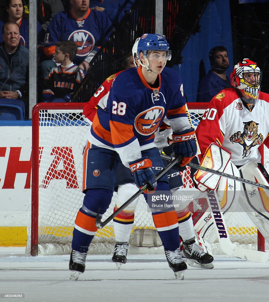 Johan Sundstrom #28 of the New York Islanders skates against the Florida Panthers at the Nassau Veterans Memorial Coliseum on April 1, 2014 in Uniondale, New York. The Islanders defeated the Panthers 4-2.