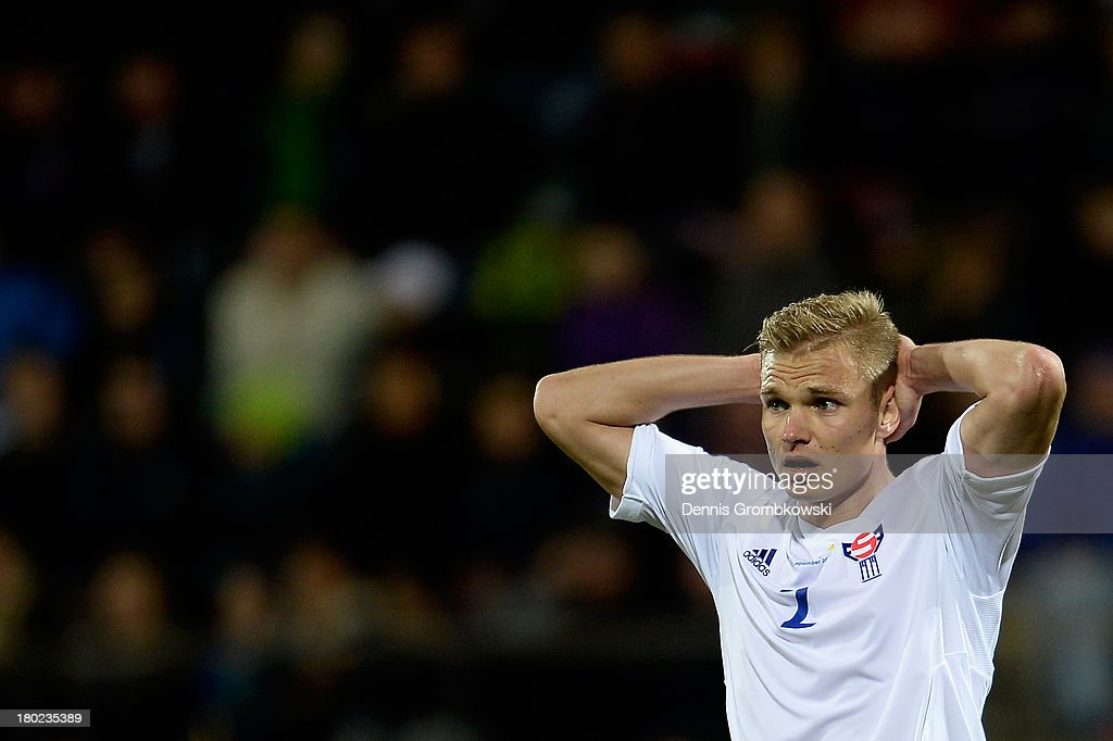 Johan Troest Davidsen of Faeroe Islands shows his frustration during the FIFA 2014 World Cup Qualifier match between Faeroe Islands and Germany on September 10, 2013 in Torshavn, Denmark.
