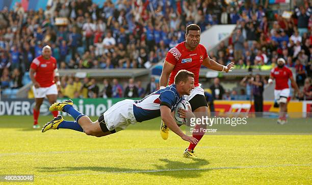 Johan Tromp of Namibia goes over for a try during the 2015 Rugby World Cup Pool C match between Tonga and Namibia at Sandy Park on September 29 2015...