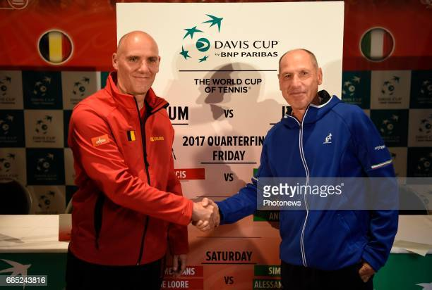 Johan Van Herck and Corrado Barazzutti pictured during the draw of Davis Cup World quarterfinal match between Belgium and Italy in the Spiroudome on...