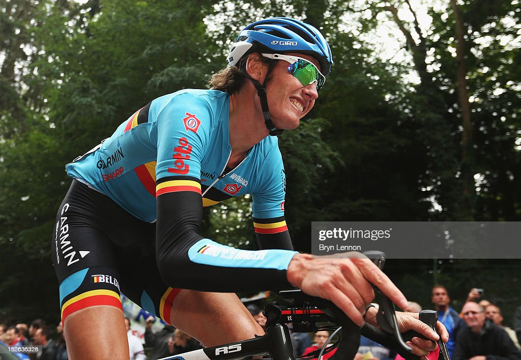 <a gi-track='captionPersonalityLinkClicked' href=/galleries/search?phrase=Johan+Van+Summeren&family=editorial&specificpeople=750486 ng-click='$event.stopPropagation()'>Johan Van Summeren</a> of Belgium climbs the Cauberg during the Men's Elite Road Race on day eight of the UCI Road World Championships on September 23, 2012 in Valkenburg, Netherlands.