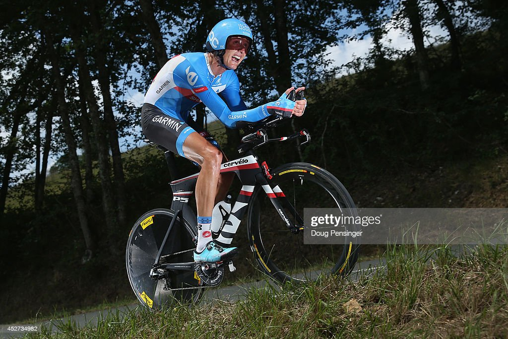 Johan Vansummeren of Belgium and Garmin-Sharp competes in the individual time trial during the twentieth stage of the 2014 Tour de France, a 54km individual time trial stage between Bergerac and Perigueux, on July 26, 2014 in Perigueux, France.