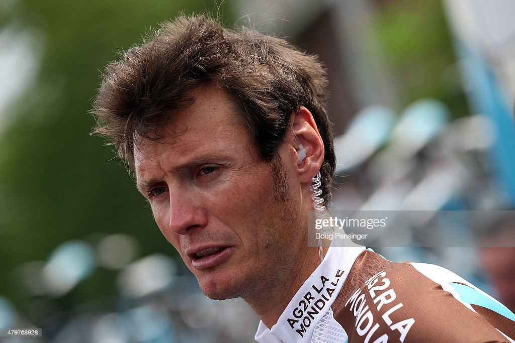 Johan Vansummeren of Belgium riding for Ag2r La Mondiale talks to the media as he prepares for stage four of the 2015 Tour de France from Seraing, Belgium to Cambrai, France on July 7, 2015 in Seraing, Belgium.