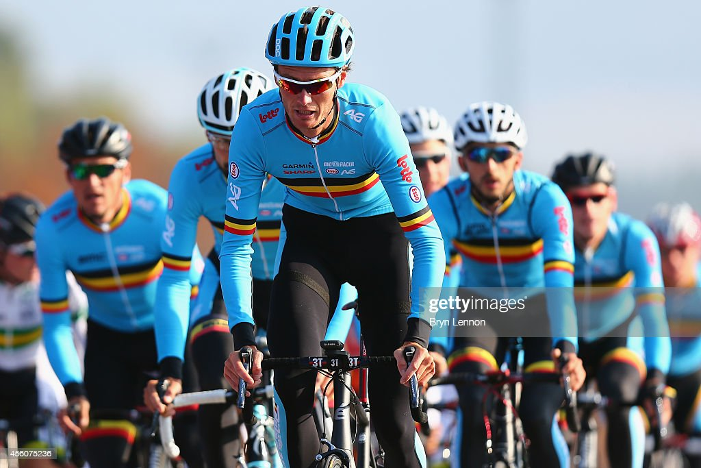 Johan Vansummeren of leads the Belgium team in action during training for the UCI World Road Race Championships on September 25, 2014 in Ponferrada, Spain.