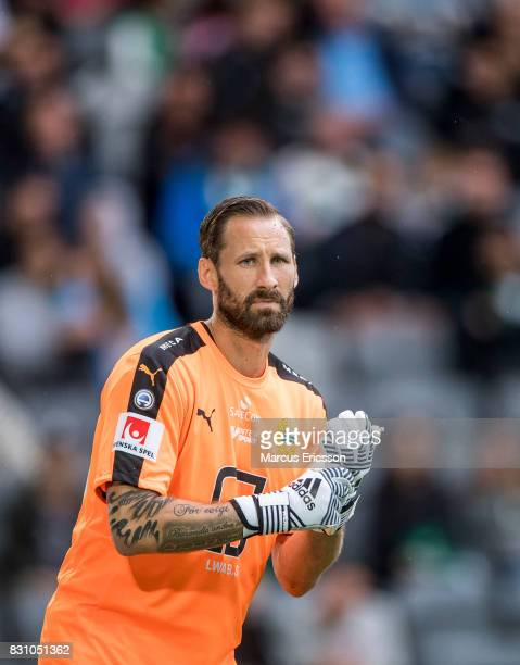 Johan Wiland goalkeeper of Hammarby IF during the Allsvenskan match between Hammarby IF and Ostersunds FK at Tele2 Arena on August 14 2017 in...