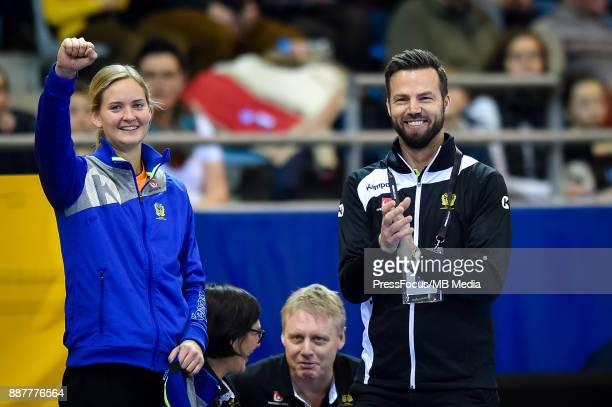 Johana Bundsen of Sweden and Henrik Signell head coach of Sweden react during IHF Women's Handball World Championship group B match between Sweden...