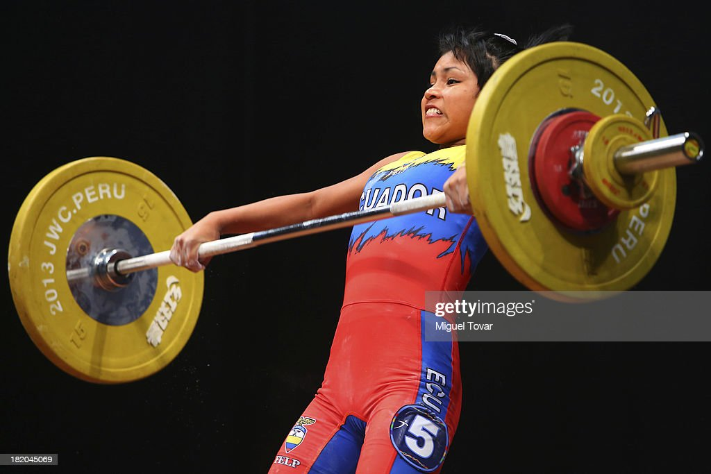Johana Tapuy of Ecuador competes in women's 48 kg as part of the I ODESUR South American Youth Games at Coliseo Miguel Grau on September 27, 2013 in Lima, Peru.