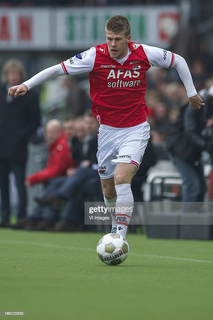 Johann Berg Gudmundsson of AZ during the Dutch Eredivisie match between Heracles Almelo and AZ Alkmaar at the Polman Stadium on march 31, 2013 in Almelo, The Netherlands
