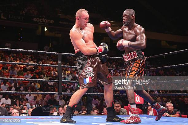 Johann Duhaupas and Deontay Wilder fight at Legacy Arena at the BJCC on September 26 2015 in Birmingham Alabama