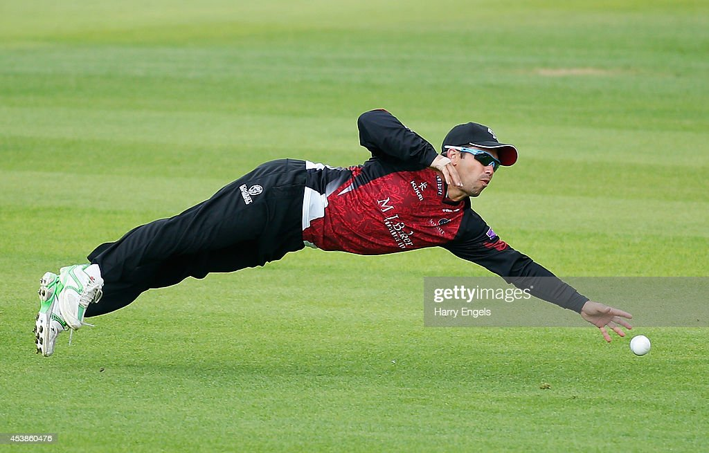 Johann Myburgh of Somerset dives but fails to stop the ball during the Royal London OneDay Cup match between Surrey and Somerset at The Kia Oval on...
