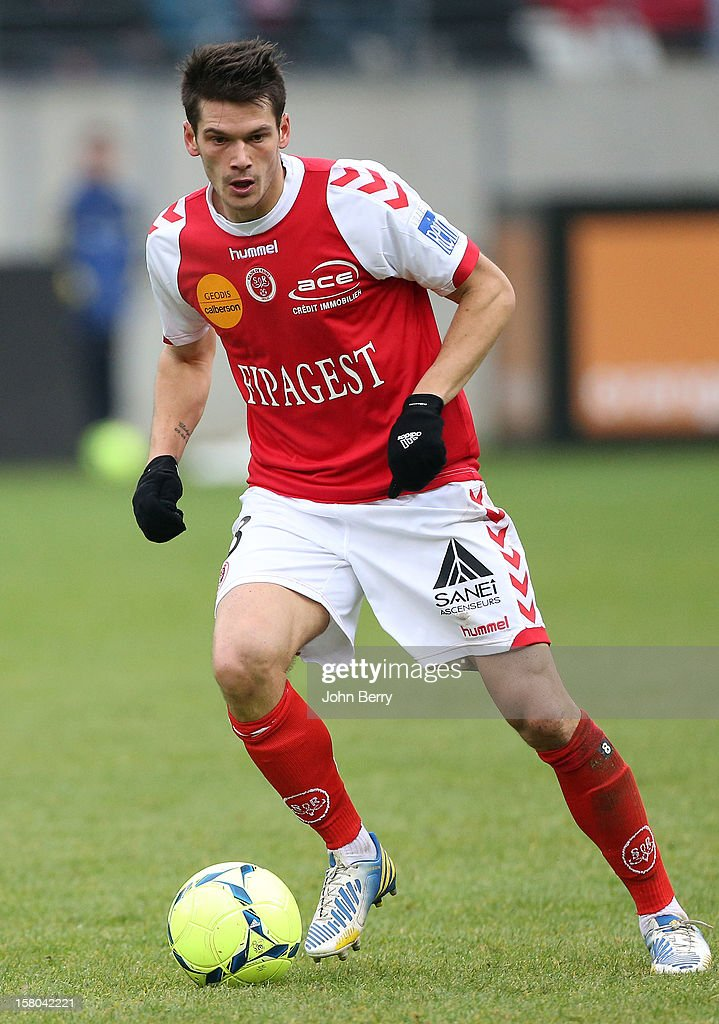 Johann Ramare of Reims in action during the French Ligue 1 match between Stade de Reims and Girondins de Bordeaux at the Stade Auguste Delaune on December 9, 2012 in Reims, France.