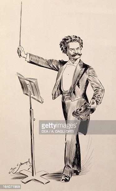 Johann Strauss Austrian composer and conductor Ink drawing Vienna Historisches Museum Der Stadt Wien