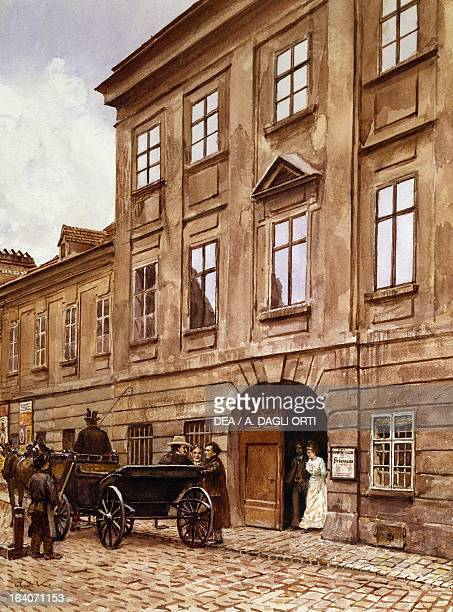 Johann Strauss leaving the Theater an der Wien Vienna Watercolour Vienna Historisches Museum Der Stadt Wien