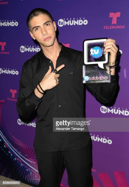 Johann Vera is seen in the press room during Telemundo's 'Premios Tu Mundo' at AmericanAirlines Arena on August 24 2017 in Miami Florida
