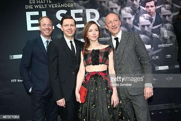 Johann von Buelow Christian Friedel Katharina Schuettler and director Oliver Hirschbiegel attend the German premiere of the film 'Elser' at Arri Kino...