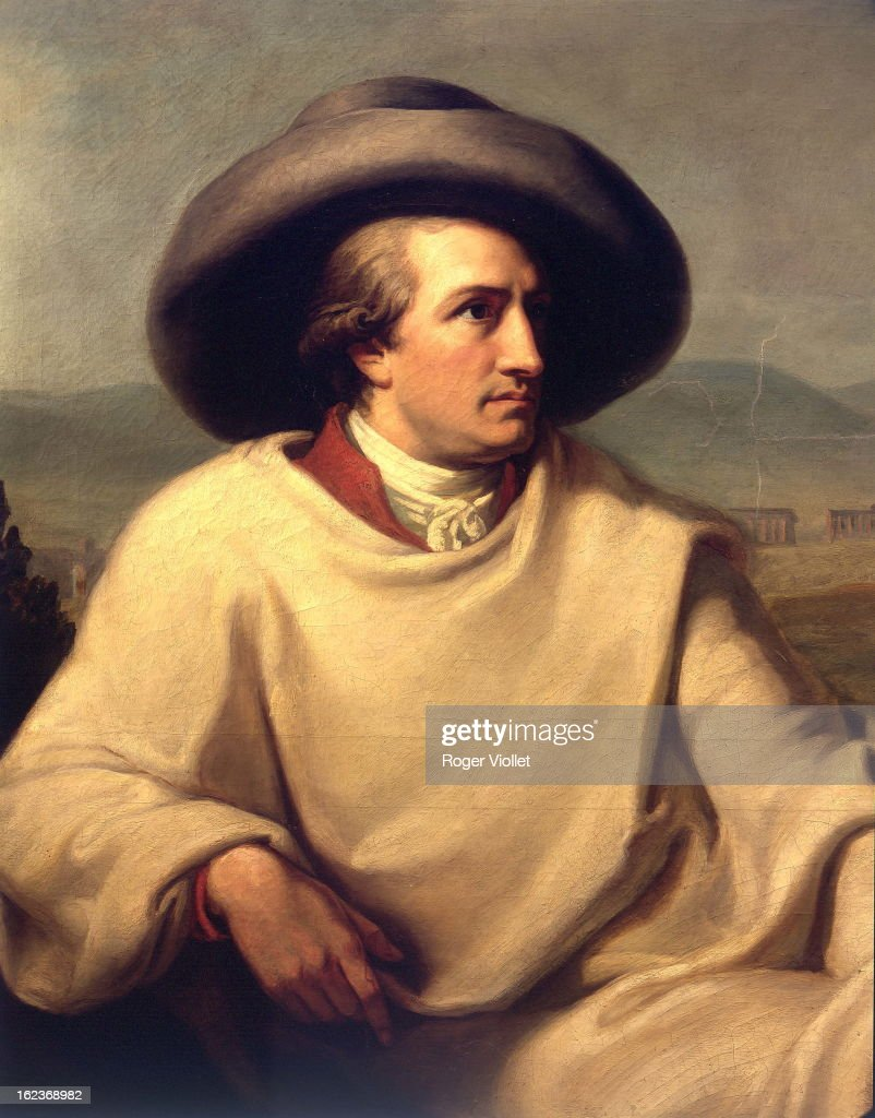 <a gi-track='captionPersonalityLinkClicked' href=/galleries/search?phrase=Johann+Wolfgang+von+Goethe&family=editorial&specificpeople=98976 ng-click='$event.stopPropagation()'>Johann Wolfgang von Goethe</a> (1749-1832), German writer, in the Roman countryside, Italy. Detail, 1787, of a painting by Johann Heinrich Wilhelm Tischbein (1751-1829). Frankfurt (Germany), Stadelsches Kunstinstitut.