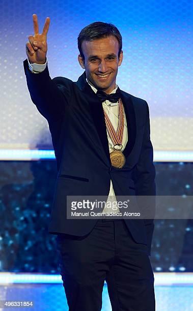 Johann Zarco of France and AJO Motorsport celebrates during the 2015 FIM MotoGP Awards Ceremony at Fira de Valencia on November 8 2015 in Valencia...