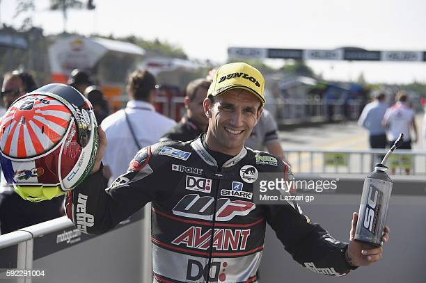 Johann Zarco of France and Ajo Motorsport celebrates the pole position at the end of the qualifying practice during the MotoGp of Czech Republic...