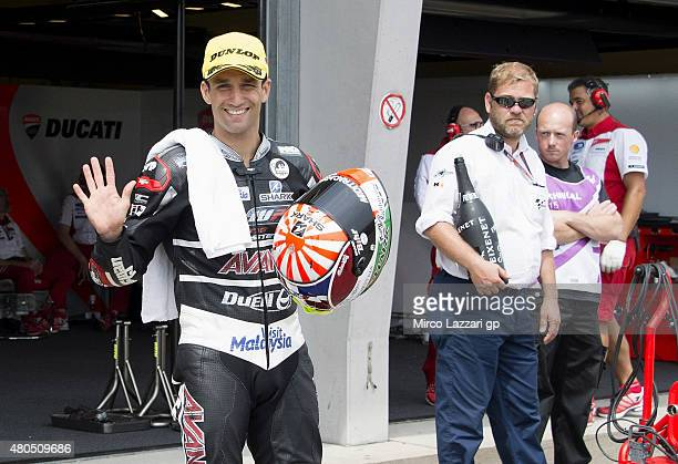 Johann Zarco of France and AJO Motorsport celebrates the second place at the end of the Moto2 race during the MotoGp of Germany Race at Sachsenring...