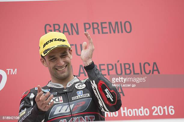 Johann Zarco of France and Ajo Motorsport celebrates the victory on the podium at the end of the Moto2 Race during the MotoGp of Argentina Race at...