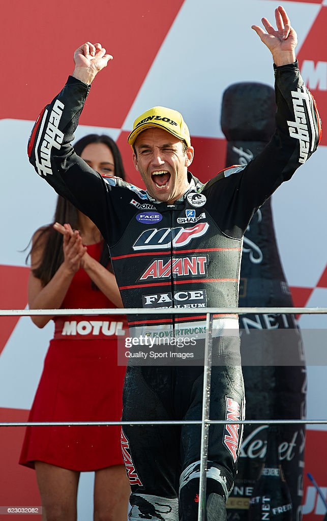 Johann Zarco of France and Ajo Motorsport celebrates the victory on the podium at the end of the Moto2 race during the MotoGP of Valencia - Race at Comunitat Valenciana Ricardo Tormo Circuit on November 13, 2016 in Valencia, Spain.