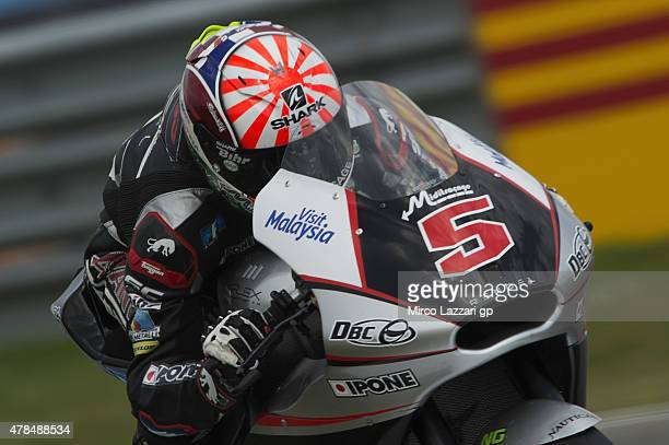 Johann Zarco of France and AJO Motorsport heads down a straight during the MotoGP Netherlands Free Practice at on June 25 2015 in Assen Netherlands