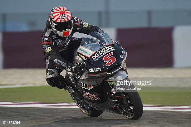 Johann Zarco of France and Ajo Motorsport Kalex heads down a straight during Moto2 And Moto 3 Tests at Losail Circuit on March 11 2016 in Doha Qatar