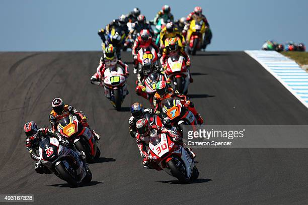 Johann Zarco of France and Ajo Motorsport leads riders during the Moto2 race during the 2015 MotoGP of Australia at Phillip Island Grand Prix Circuit...