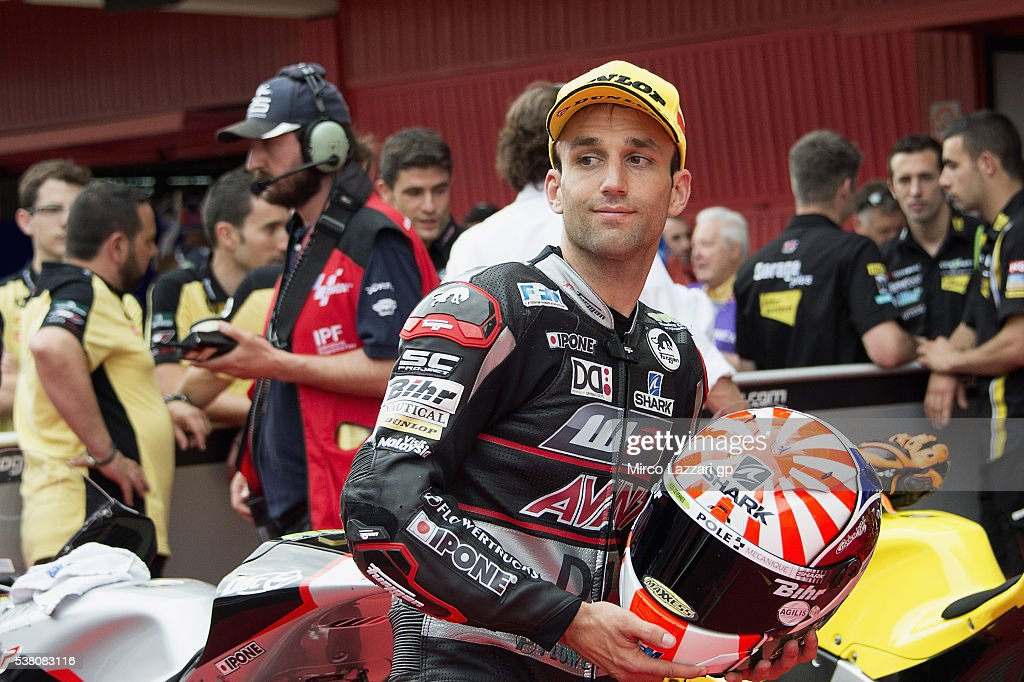 <a gi-track='captionPersonalityLinkClicked' href=/galleries/search?phrase=Johann+Zarco&family=editorial&specificpeople=4501201 ng-click='$event.stopPropagation()'>Johann Zarco</a> of France and Ajo Motorsport smiles and celebrates the pole position at the end of the qualifying practice during the MotoGp of Catalunya - Qualifying at Circuit de Catalunya on June 4, 2016 in Montmelo, Spain.
