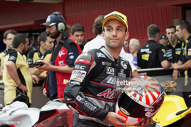 Johann Zarco of France and Ajo Motorsport smiles and celebrates the pole position at the end of the qualifying practice during the MotoGp of...