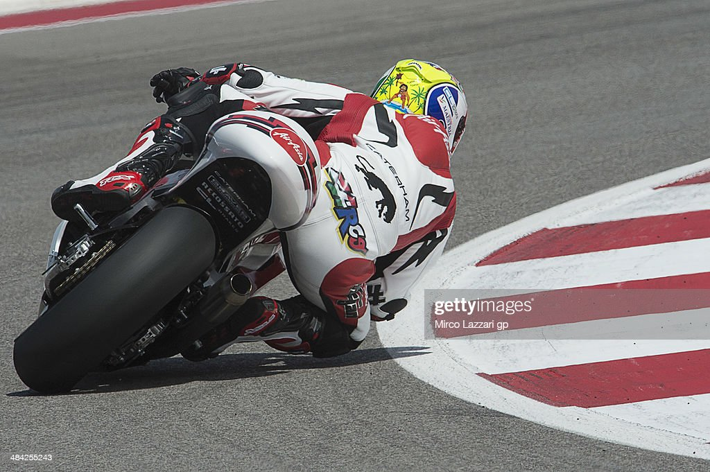 <a gi-track='captionPersonalityLinkClicked' href=/galleries/search?phrase=Johann+Zarco&family=editorial&specificpeople=4501201 ng-click='$event.stopPropagation()'>Johann Zarco</a> of France and Caterham Moto Racing rounds the bend during the MotoGp Red Bull U.S. Grand Prix of The Americas - Free Practice at Circuit of The Americas on April 11, 2014 in Austin, Texas.