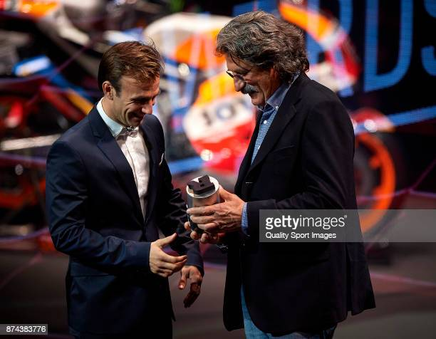 Johann Zarco of France and Monster Yamaha Tech 3 and Paolo Simoncelli attend the FIM MotoGP Awards Ceremony at Palacio de Congresos de Valencia on...