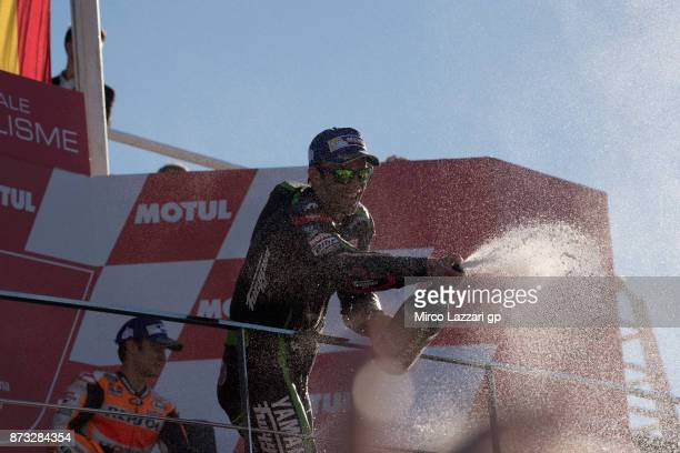 Johann Zarco of France and Monster Yamaha Tech 3 celebrates the second place on the podium at the end of the MotoGp race during the Comunitat...