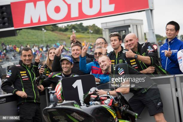 Johann Zarco of France and Monster Yamaha Tech 3 celebrates the MotoGP pole position with team at the end of the qualifying practice during the...