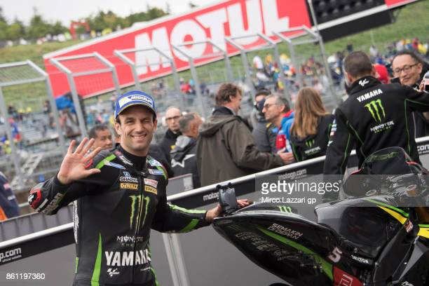 Johann Zarco of France and Monster Yamaha Tech 3 celebrates the MotoGP pole position at the end of the qualifying practice during the MotoGP of Japan...