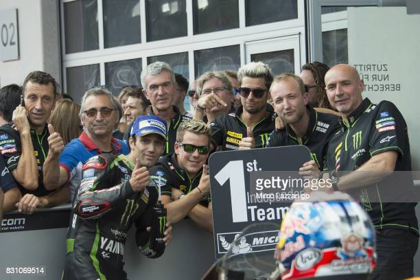 Johann Zarco of France and Monster Yamaha Tech 3 celebrates the Indipendent team victory at the end of the MotoGP race during the MotoGp of Austria...