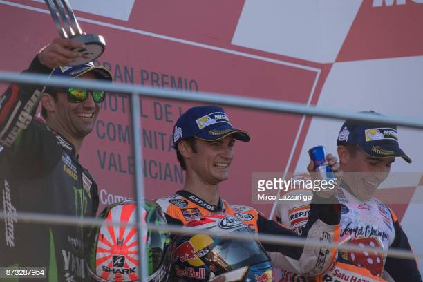 Johann Zarco of France and Monster Yamaha Tech 3 Dani Pedrosa of Spain and Repsol Honda Team amd Marc Marquez of Spain and Repsol Honda Team pose on...