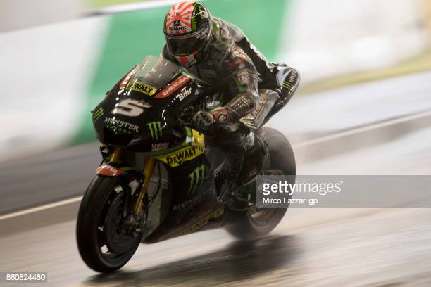 Johann Zarco of France and Monster Yamaha Tech 3 heads down a straight during the MotoGP of Japan Free Practice at Twin Ring Motegi on October 13...