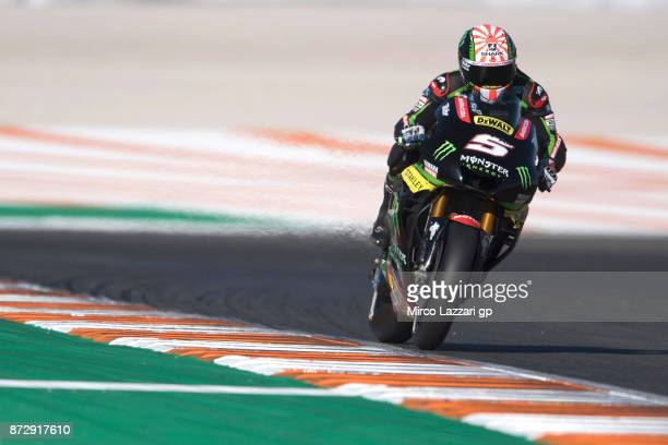 Johann Zarco of France and Monster Yamaha Tech 3 heads down a straight during the qualifying practice during the Comunitat Valenciana Grand Prix Moto...
