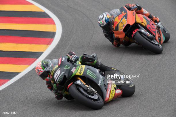 Johann Zarco of France and Monster Yamaha Tech 3 leads the field during the MotoGP race during the MotoGp of Germany Race at Sachsenring Circuit on...