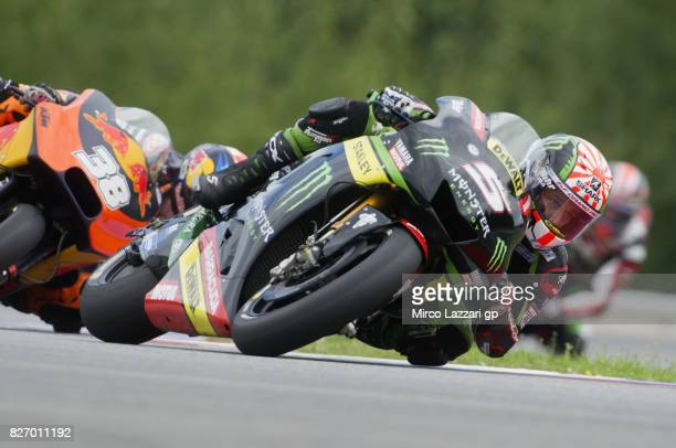 Johann Zarco of France and Monster Yamaha Tech 3 leads the field during the MotoGP race during the MotoGp of Czech Republic Race at Brno Circuit on...